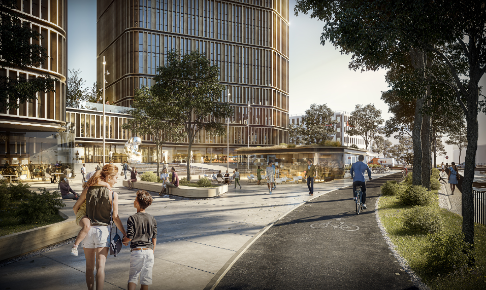 Covivio und HENN präsentieren Entwurf zu  Bürohochhausentwicklung Partheufer Leipzig